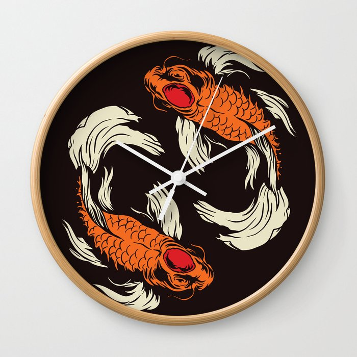Two Koi Wall Clock