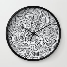 Lines - Black and White Wall Clock