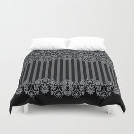 Black and Gray Floral Damask Pattern Duvet Cover