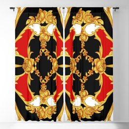 Rococo intricate panel with floral elements Blackout Curtain