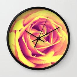 Yellow and Pink Rose Wall Clock
