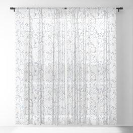 Indigo Bunnies Sheer Curtain