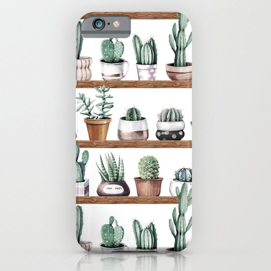 Cactus Shelf Rose Gold Green iPhone & iPod Case by Nature