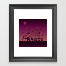 colorful circus carnival traveling in one row at night Framed Art Print
