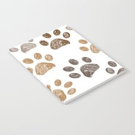 Brown colored paw print background Notebook
