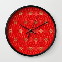 Double Happiness Symbol Pattern gold on red Wall Clock