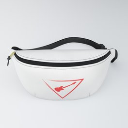 """When """"No Music No Life"""" Tee """" With An Illustration Of A Guitar Inside A Triangle T-shirt Design Red Fanny Pack"""