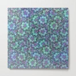 Blue Sedum Spiral Pattern Metal Print