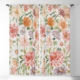 Loose Pastel Dahlia Watercolor Bouquet Blackout Curtain