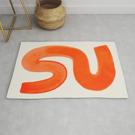 Mid Century Modern Abstract Minimalist Abstract Vintage Retro Orange Watercolor Brush Strokes Rug