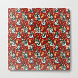 Corgis decorate the christmas tree - red pattern Metal Print