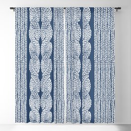 Cable Row Navy 1 Blackout Curtain