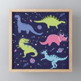 Dinosaurs in Space Framed Mini Art Print