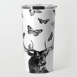 The Stag and Butterflies   Black and White Travel Mug