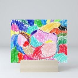 patchwork rainbow Mini Art Print