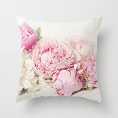 Peonies on white Throw Pillow
