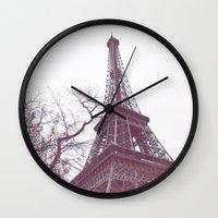 eiffel tower Wall Clocks featuring Eiffel Tower by Serena Jones Photography