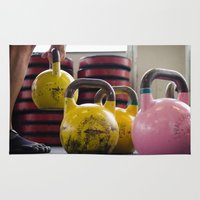 crossfit Area & Throw Rugs featuring Kettlebell Pick Up by StirlingStudio
