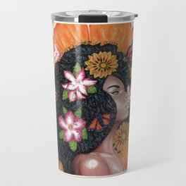 Summer Time Black Woman Travel Mug