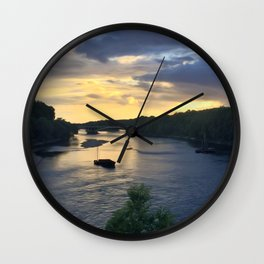 Sunset Sailing on the Loire Wall Clock