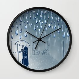 Rainy going home Wall Clock