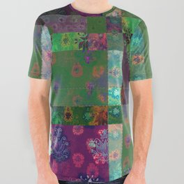 Lotus flower green and maroon stitched patchwork - woodblock print style pattern All Over Graphic Tee