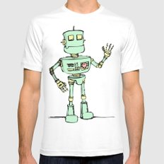 Robot Jones White Mens Fitted Tee MEDIUM