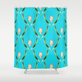 Heliconia Blossom Turquoise #tropical Shower Curtain