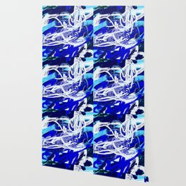 Blue & White Abstract Wallpaper