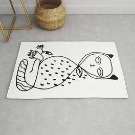 Graphic black white line art cat Rug