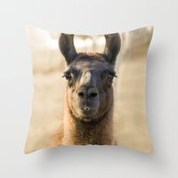 llama Throw Pillows featuring LLAMA by Julie Zhang