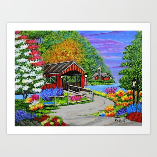 Covered bridge to town  Art Print