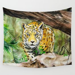 Prowling Jaguar in the Jungle Watercolor Painting Wall Tapestry