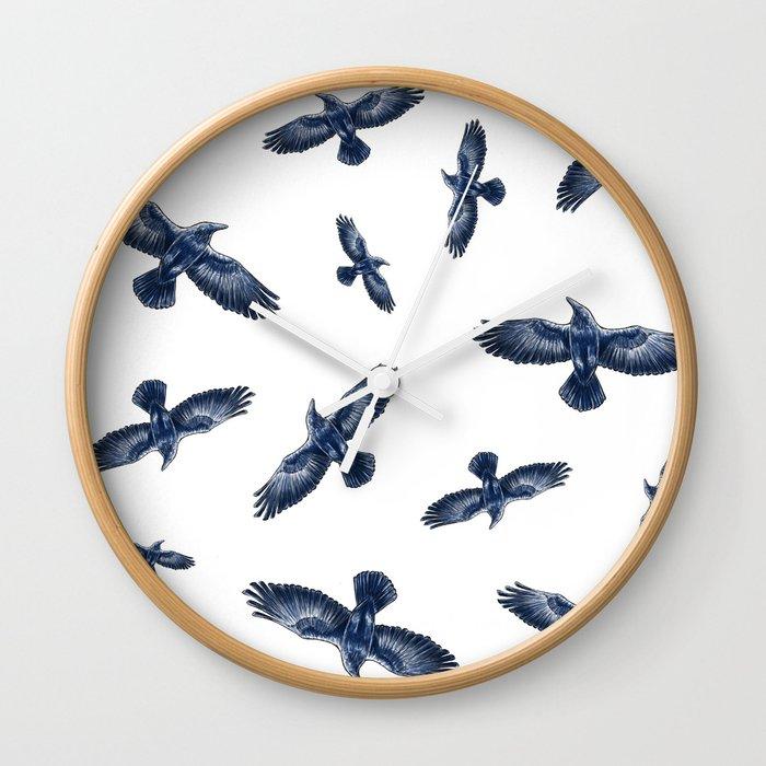 Soaring Ravens Pattern. Wall Clock