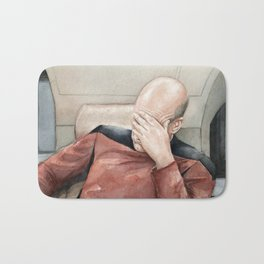 Picard Facepalm Meme Funny Geek Sci-fi Captain Picard TNG Bath Mat