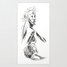 a sketch of a male Art Print