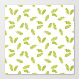 Hand painted green watercolor oak leaves pattern Canvas Print