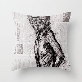 Saint - Charcoal on Newspaper Figure Drawing Throw Pillow