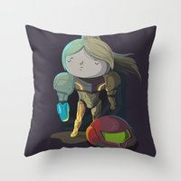 samus Throw Pillows featuring Samus by Rod Perich