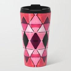 Art Deco Triangles Hot Pink Metal Travel Mug