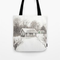 cape cod Tote Bags featuring Cape Cod Snowstorm by ELIZABETH THOMAS Photography of Cape Cod