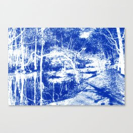 Looking in the water mirror-blue Canvas Print