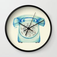 novelty Wall Clocks featuring Rotary Telephone - Ballpoint by One Curious Chip
