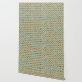 Light Blue3 Gold Glitter Chevron Pattern Wallpaper