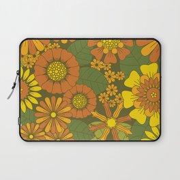 Orange, Brown, Yellow and Green Retro Daisy Pattern Laptop Sleeve