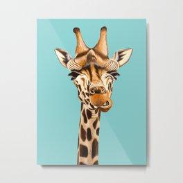Giraffe Acrylic Painting Metal Print