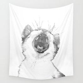 Black and White Sleepy Kitten Wall Tapestry