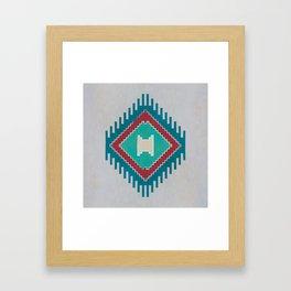 Pistachio Persian Kilim Framed Art Print