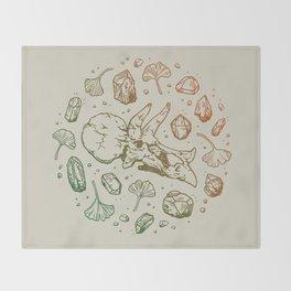 Triceratops Rocks!   Leaf Green & Pumpkin Spice Ombré Throw Blanket