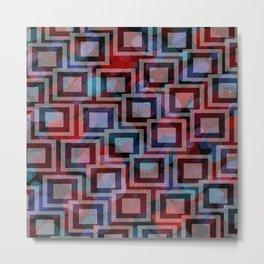Black and White Squares Pattern 01 Metal Print